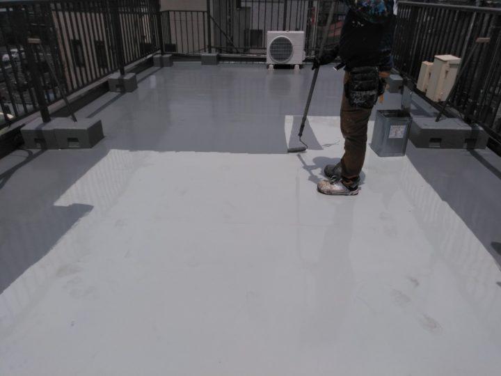 屋上 トップコート塗布