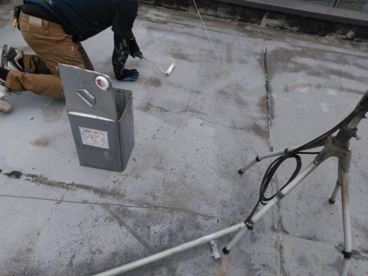 屋上陸屋根 プライマー塗布
