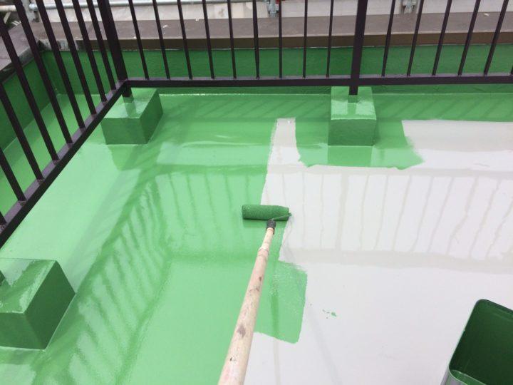 屋上陸屋根 トップコート塗布