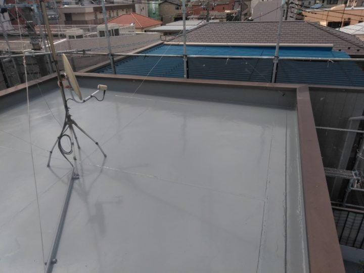 屋上陸屋根 ウレタン塗布完了(2回目)