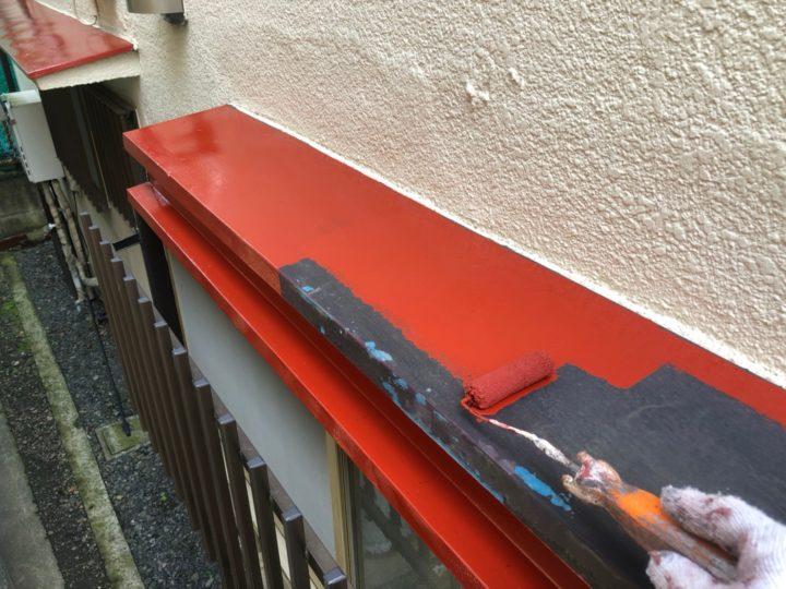 鋼製庇 下塗り