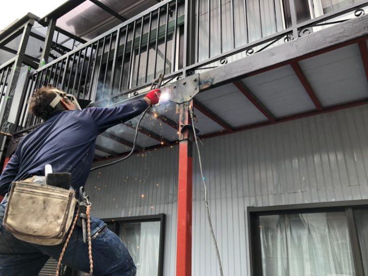 バルコニー支柱 補強工事
