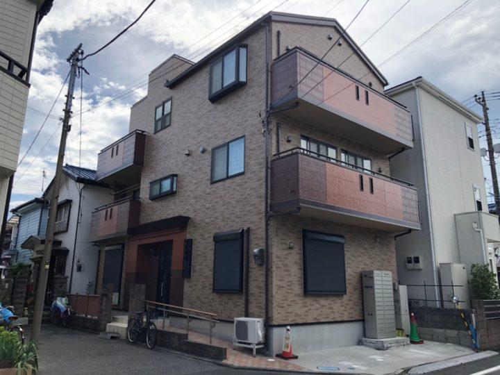 東京都足立区K様邸 3色の色分けでお洒落な外壁に!